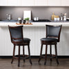 Counter Height Wood Bar Stools with Bonded Leather Seat and Backrest, set of 2