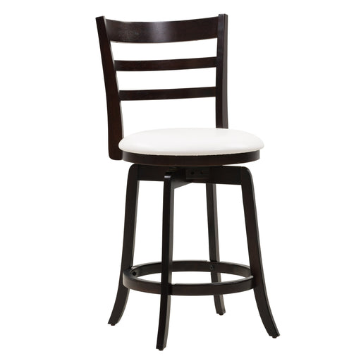 Woodgrove Counter Height wood Bar Stool with White PU Leather Seat and Slat Backrest