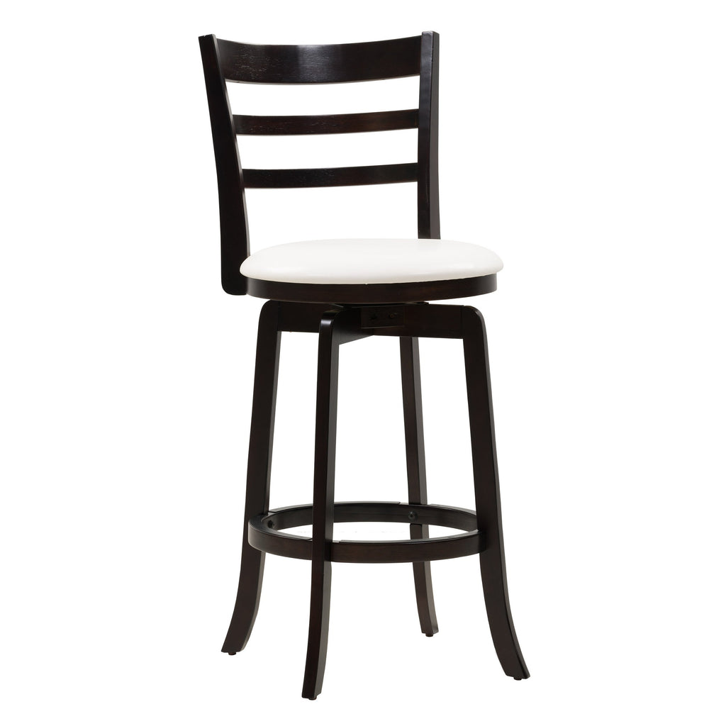 Woodgrove Bar Height Wood Bar Stool with White Faux Leather Seat and Slat Backrest