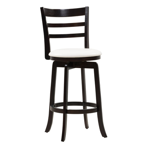 Woodgrove Bar Height Wood Bar Stool with White PU Leather Seat and Slat Backrest