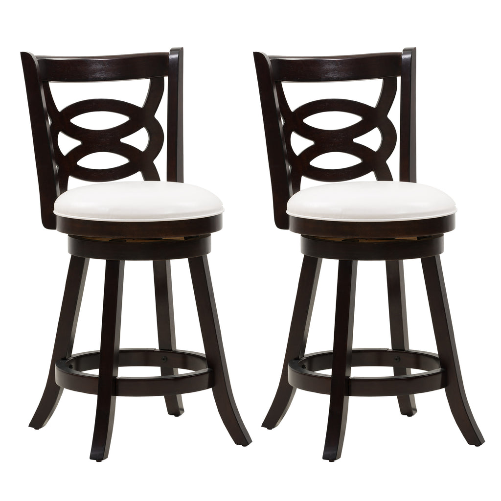 Woodgrove Counter Height Wood Bar Stool with Circle Pattern Backrest, Set of 2