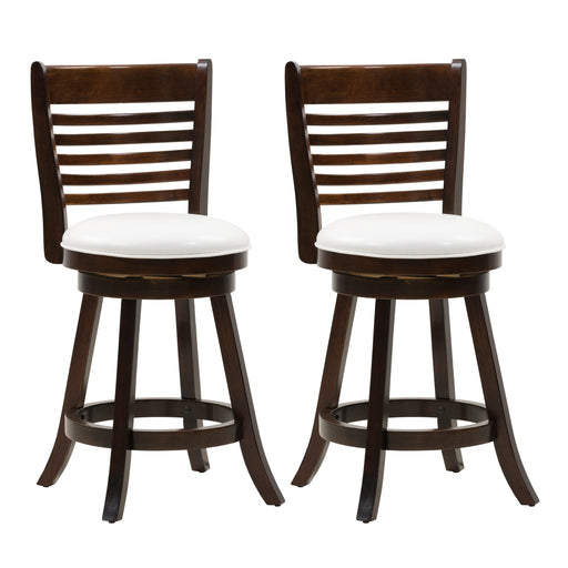 Woodgrove Counter Height Wood Bar Stool, PU Leather Seat, Slat Backrest, Set of 2