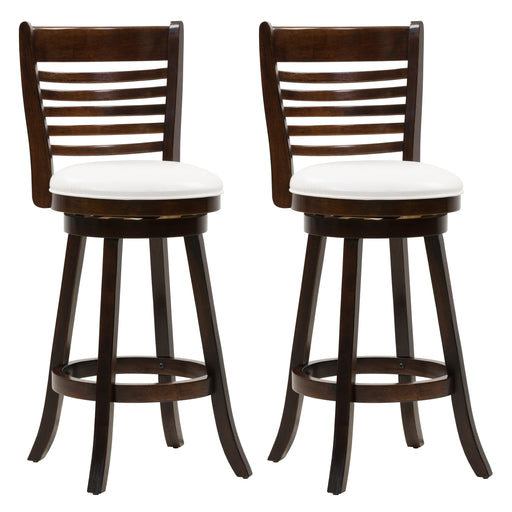 Woodgrove Bar Height Wood Bar Stool with PU Leather Seat and Slat Backrest, Set of 2