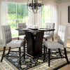 "Bistro 36"" Counter Height Cappuccino Dining Set - Tufted Platinum Sage Fabric Chairs 5pc *CLEARANCE*"