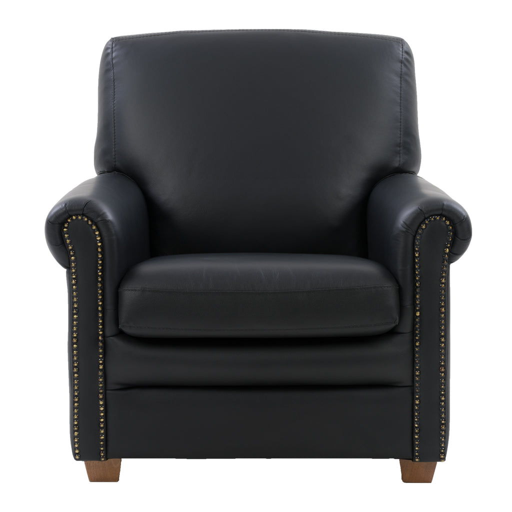 Genuine Leather Scroll Accent Arm Chair