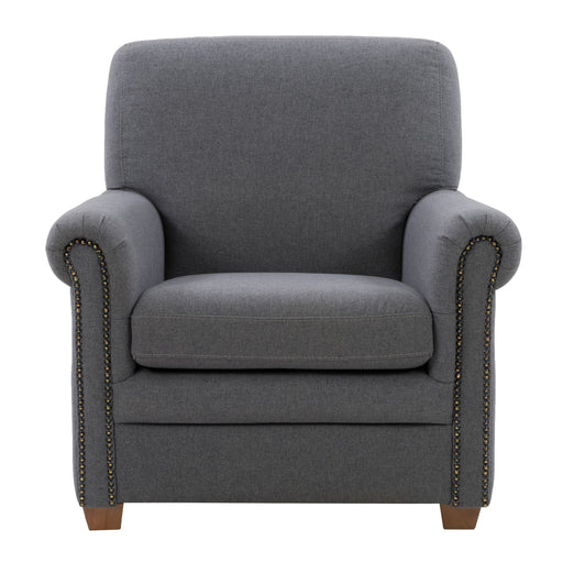 Ultra Soft Fabric Scroll Accent Arm Chair, Medium Grey