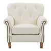 Genuine Leather Scroll Accent Arm Chair with Diamond Button Tufting *CLEARANCE - Final Sale*