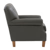 Genuine Leather Scroll Accent Arm Chair with Diamond Button Tufting