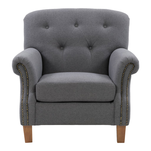 Ultra Soft Fabric Scroll Accent Arm Chair with Diamond Button Tufting, Medium Grey