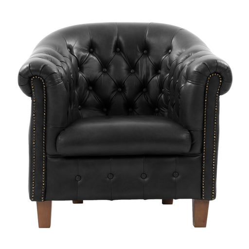 Hand-Rubbed Genuine Leather Tub Chair with Button Tufting *CLEARANCE*