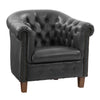 Hand-Rubbed Genuine Leather Tub Chair with Button Tufting