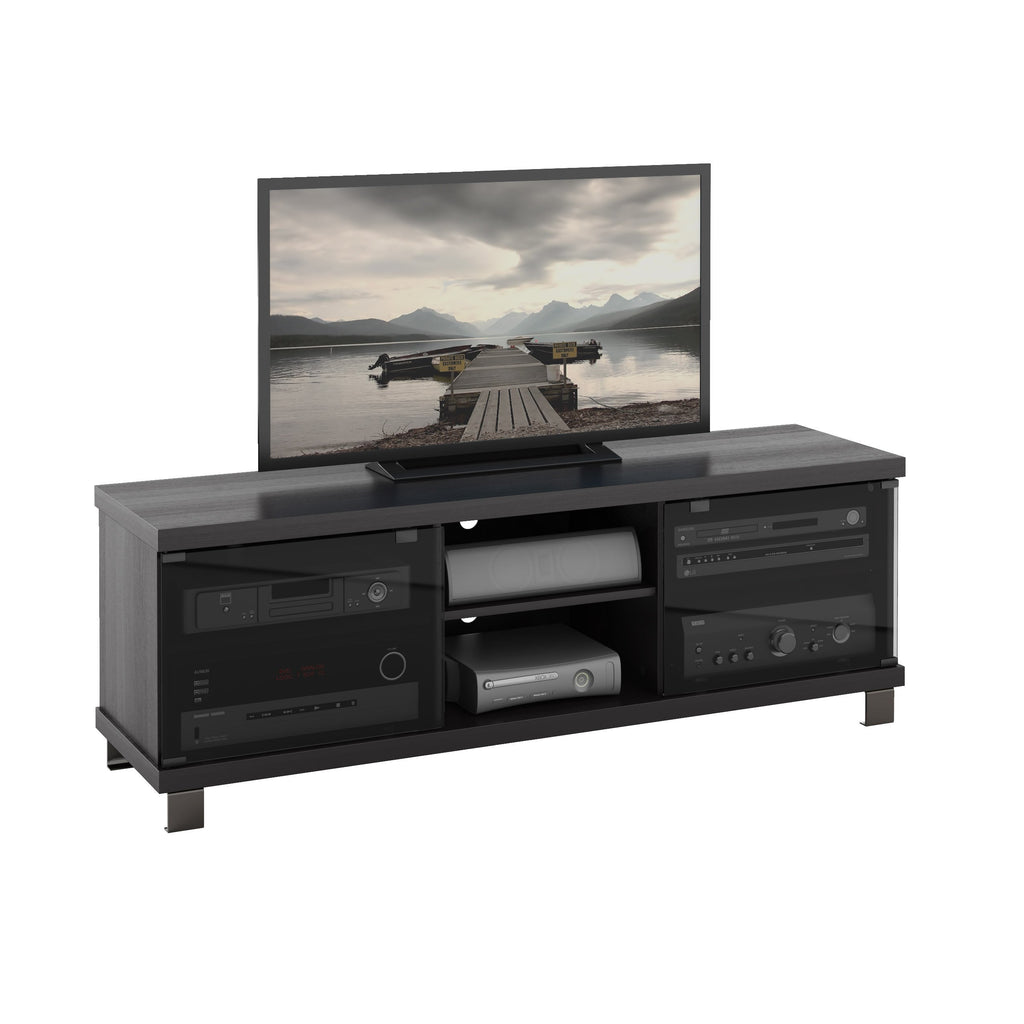 Holland Black Wooden TV Stand, for TVs up to 68""