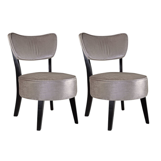 Antonio Grey Velvet Like Fabric Accent Chair, set of 2