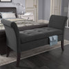 Antonio Fabric Storage Bench with Scrolled Arms