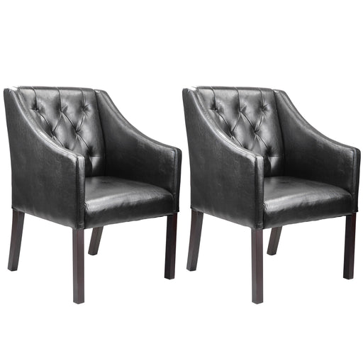 Antonio Accent Club Chair in Leather, set of 2