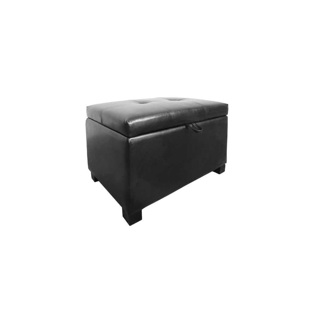 Antonio Black Leather Storage Ottoman