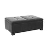 Antonio Black Leather Double Storage Ottoman