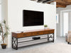 Oak Wood Veneer TV Bench with Glass Shelves for TVs up to 90""