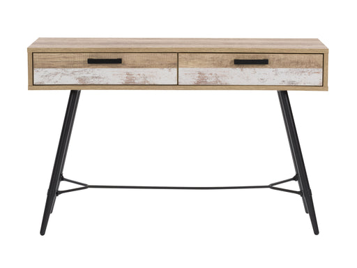 Entryway Table with Splayed Legs, Distressed Warm Beige with White Duotone