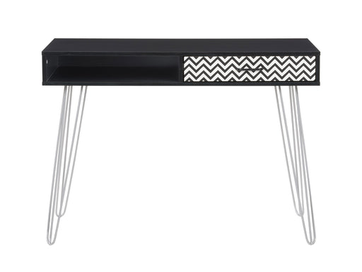 Entryway Table or Desk with Chevron-Pattern Drawer and Cubby