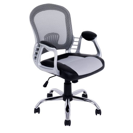 Office Chair in Black Leatherette and Grey Mesh