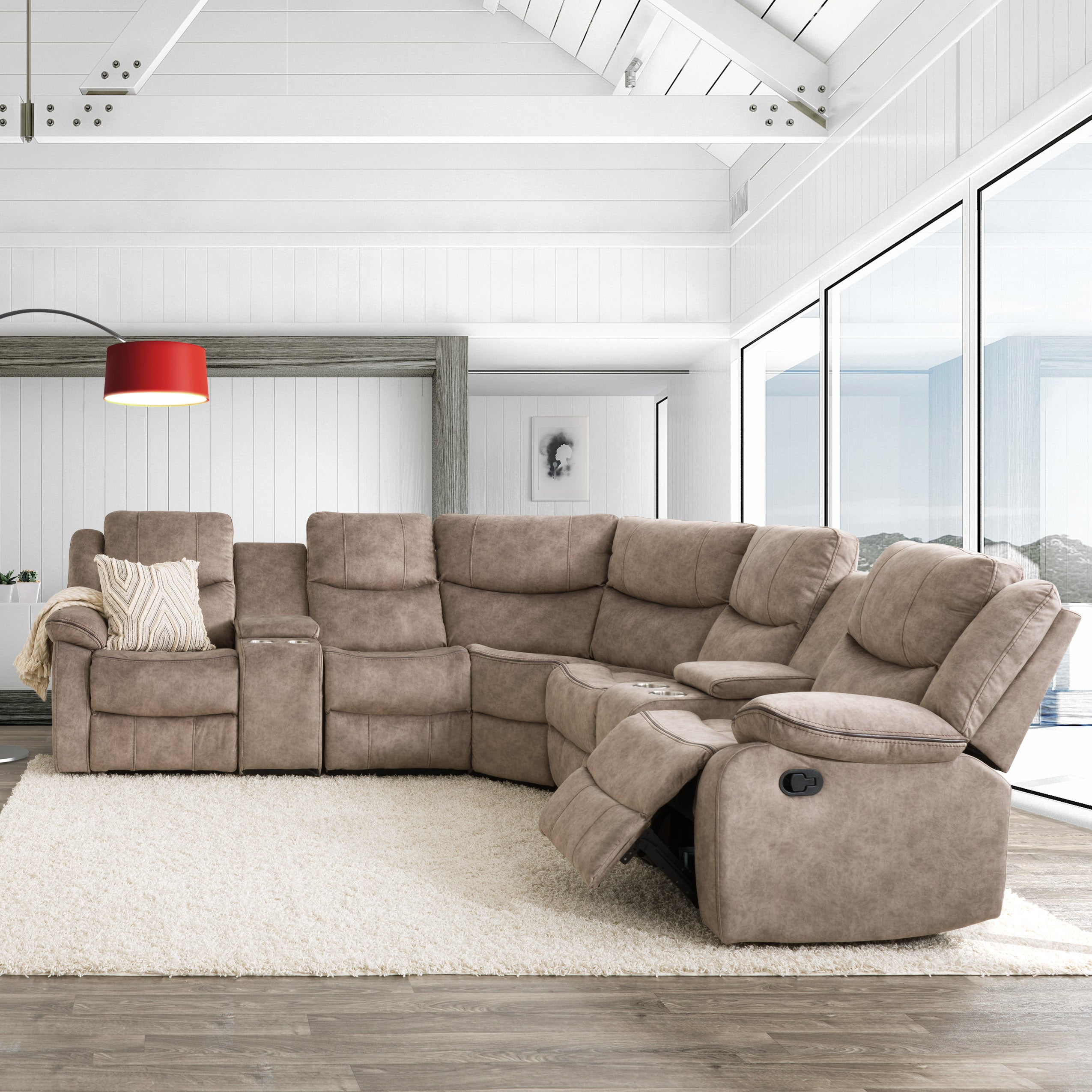 7pc curved modular reclining sofa sectional with storage consoles fabric