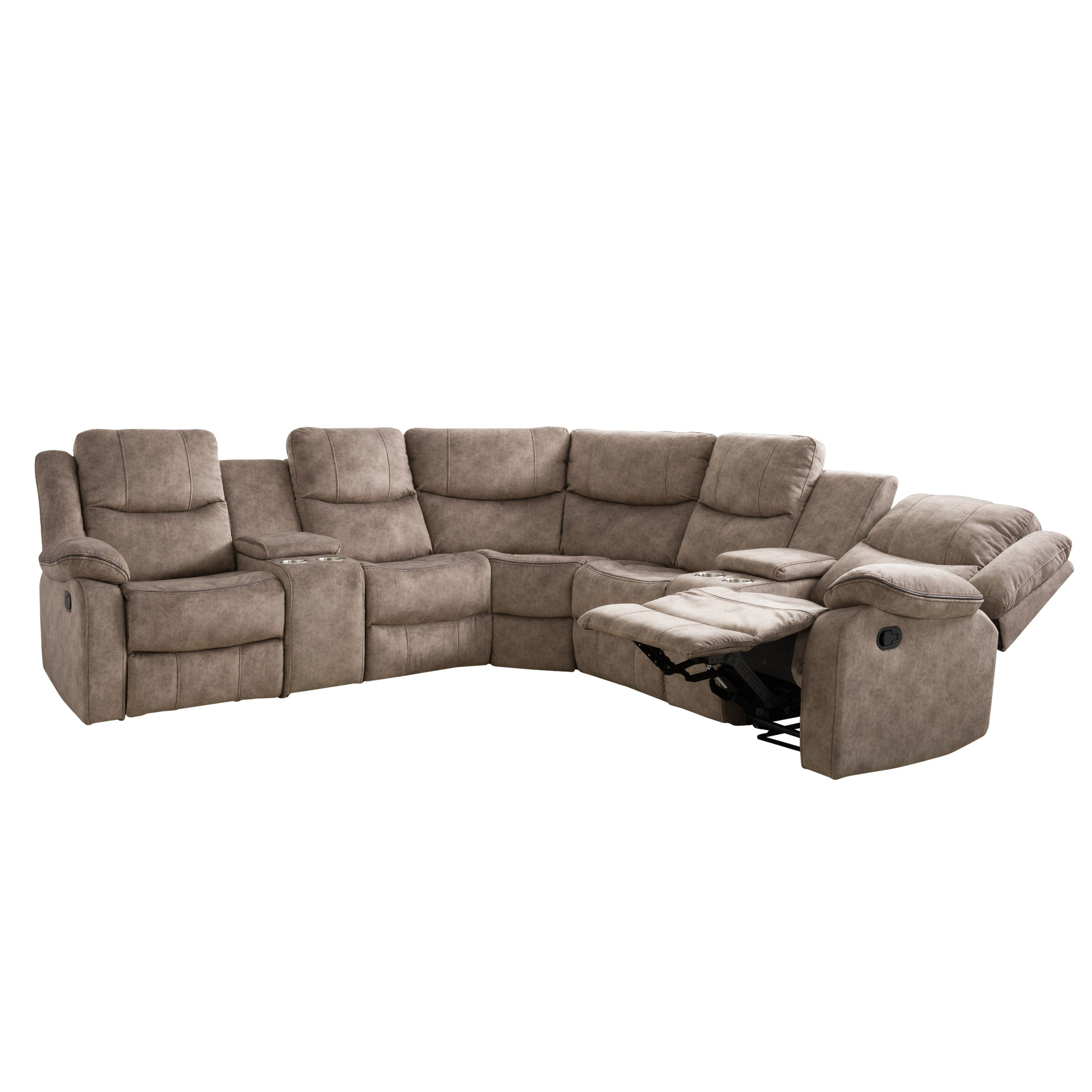 7pc Curved Modular Reclining Sofa Sectional With Storage Consoles