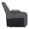 Modular Console with Storage and Cup Holders for Sectional Sofa, Fabric