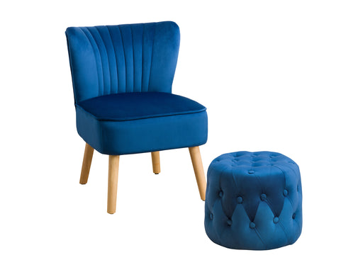 Lynwood Velvet Accent Chair and Pouf