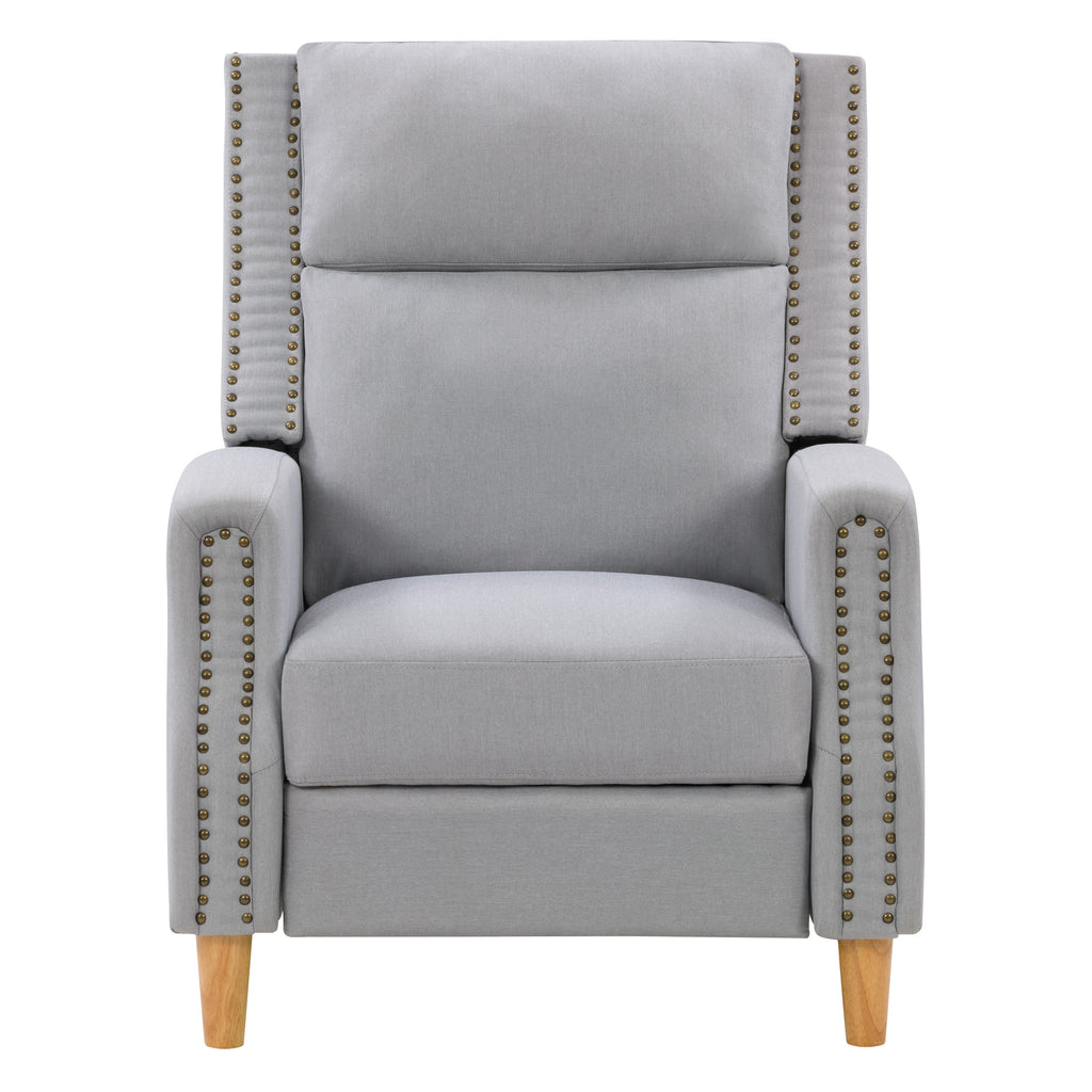 Lynwood Recliner Chair with Extending Foot Rest and Nailhead Trim Accents Fabric