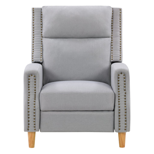 Recliner Chair with Extending Foot Rest and Nailhead Trim Accents Fabric