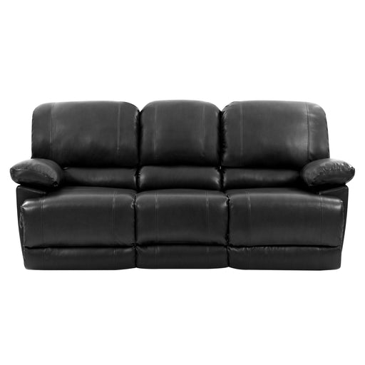 Plush Reclining Bonded Leather Sofa with Fold-Down Console and Cupholders