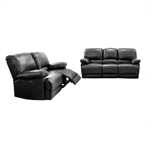 2pc Plush Power Reclining Bonded Leather Sofa Set with USB Ports