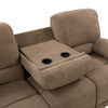 Plush Reclining Chenille Fabric Sofa with Fold-Down Console and Cupholders