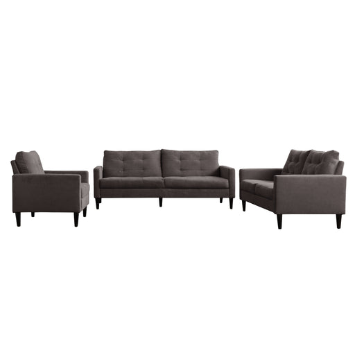 3 Piece Sewn Panel Tufted Sofa Set with Wooden Legs