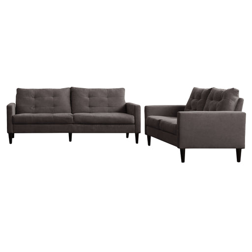 2 Piece Sewn Panel Tufted Sofa Set with Wooden Legs