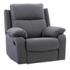 Ultra Soft Fabric Recliner Chair with Detail Stitching, Medium Grey