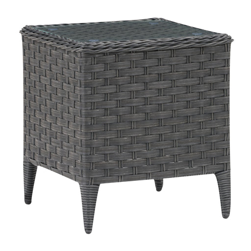 Wide Rattan Wicker Square Patio End Table with Glass Table Top