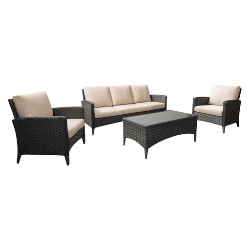 4pc Wide Rattan Wicker Sofa and Chair Patio Set