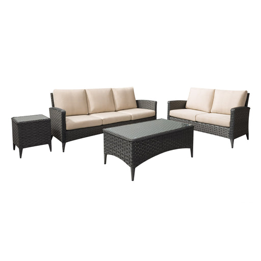 4pc Wide Rattan Wicker Sofa and Loveseat Patio Set