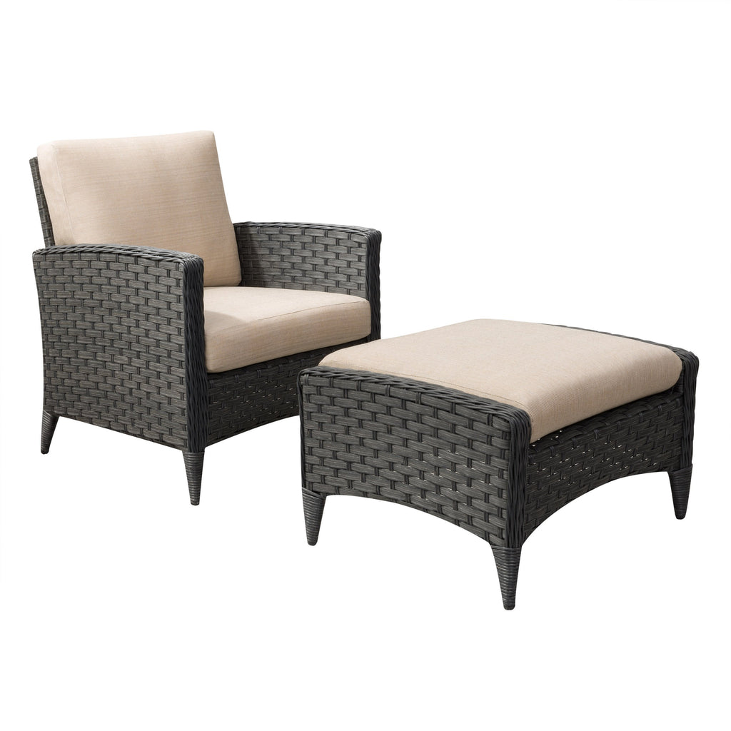 2pc Wide Rattan Wicker Chair and Stool Patio Set