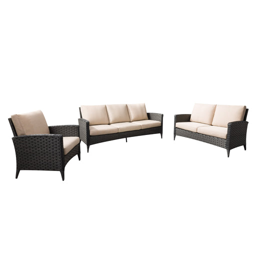 3pc Wide Rattan Wicker Sofa Loveseat and Chair Patio Set
