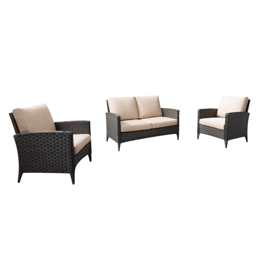 3pc Wide Rattan Wicker Loveseat and Chair Patio Set