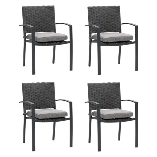Wide Rattan Wicker Patio Dining Chairs, set of 4