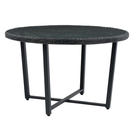 Wide Rattan Wicker Patio Dining Table in Distressed Charcoal Grey with Glass Inset Table Top