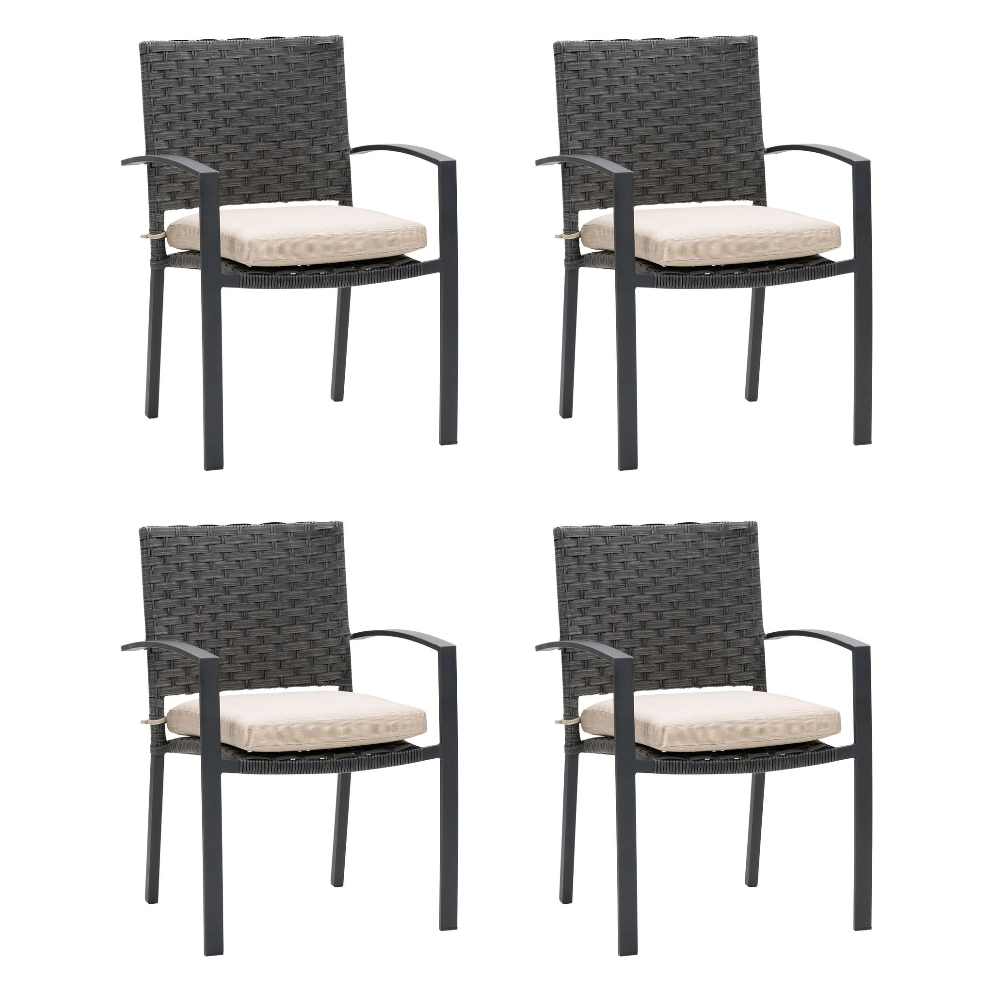 Parkview Wide Rattan Wicker Patio Dining Chairs 4pc Corliving Furniture Ca