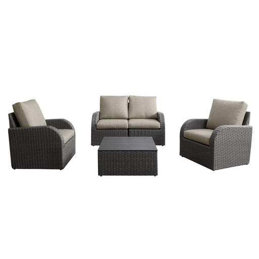 5pc Weather Resistant Loveseat with 2 Chairs and Square Coffee Table