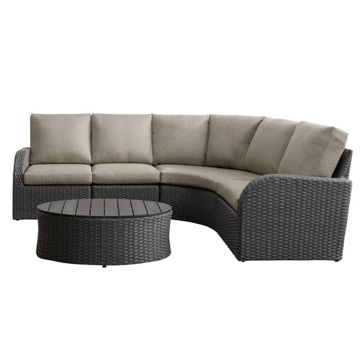 5pc Weather Resistant Curved Sectional with Oval Coffee Table