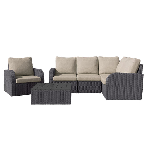 6pc Weather Resistant Corner Sectional with Square Coffee Table and Chair