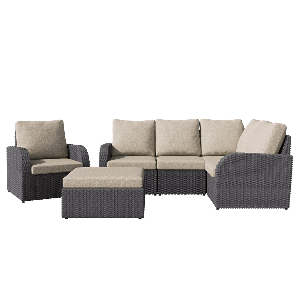 6pc Weather Resistant Corner Sectional with Oversized Ottoman